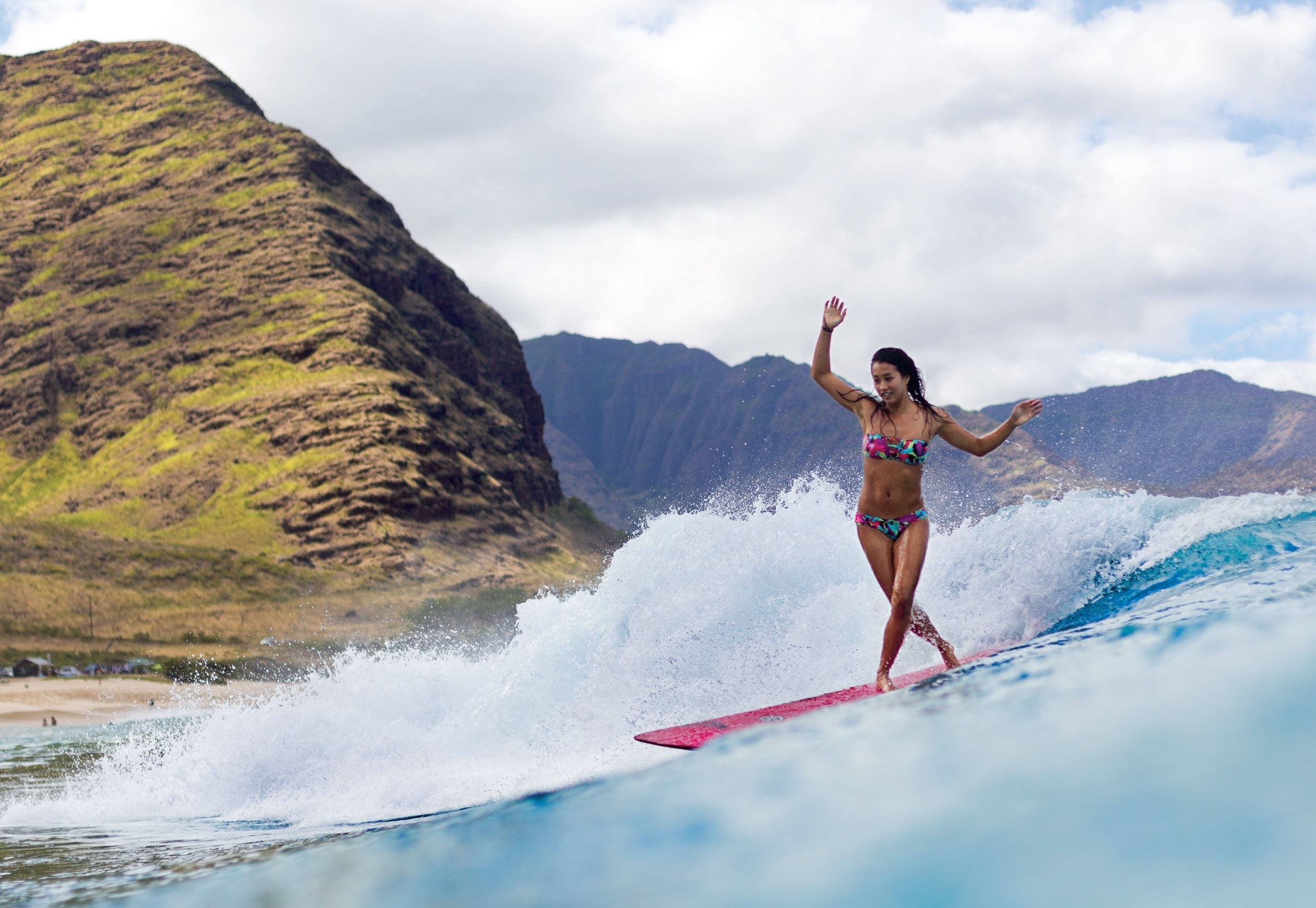 Surfing ocean girl surfing mountain r wallpaper 2407x1662 117561 2407x1662