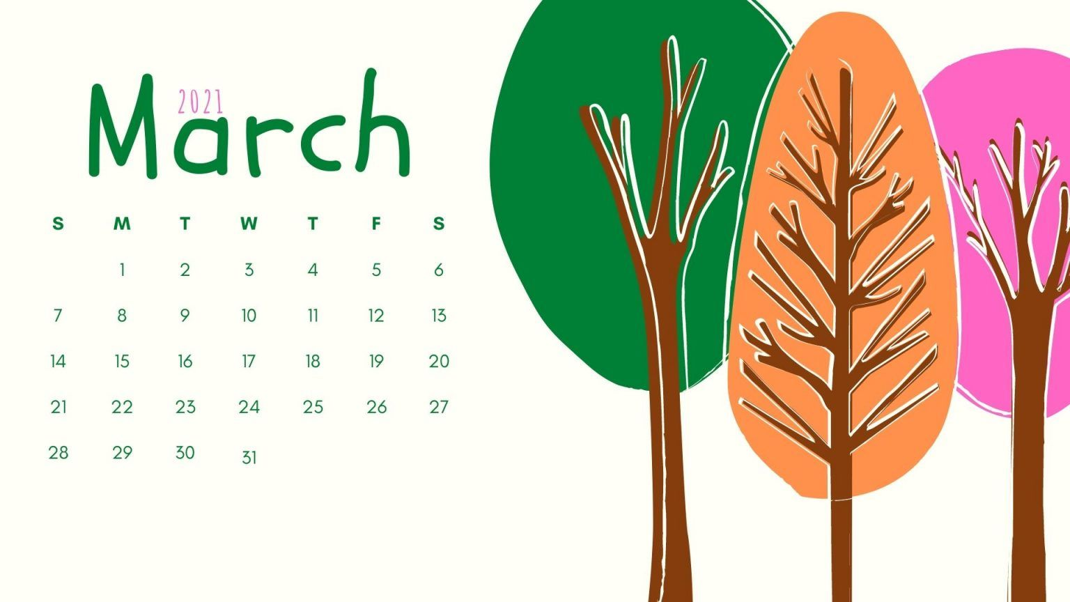 March 2021 Calendar Wallpaper Download Calendar wallpaper 2021