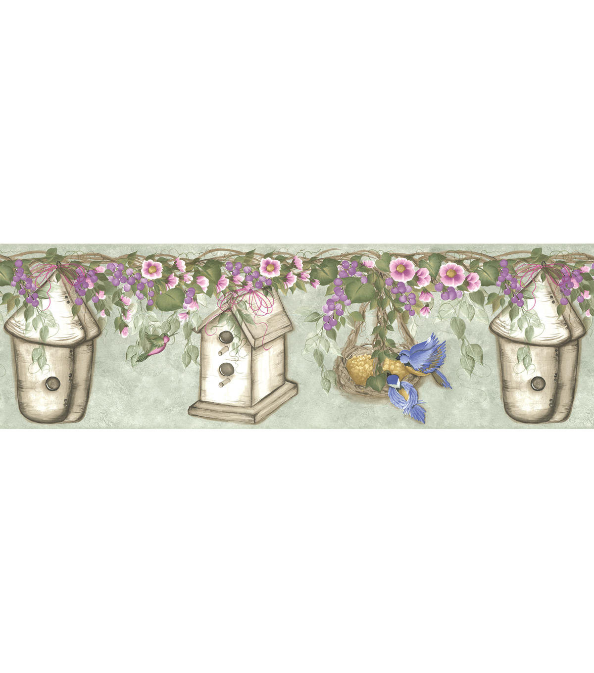 Bird House Floral Wallpaper Border Green SampleWhimsical Bird 1200x1360