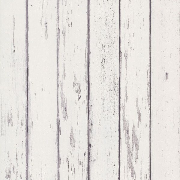 Weathered Wood Boards Wallpaper White Gray 600x600