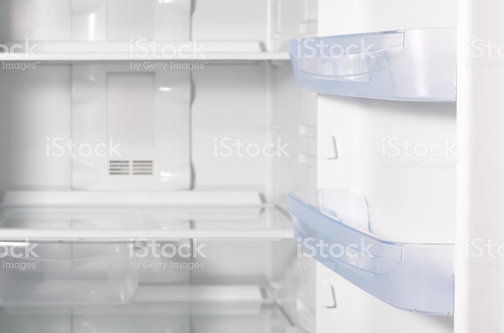 Empty Open Fridge With Shelves White Refrigerator Background Stock 1024x678