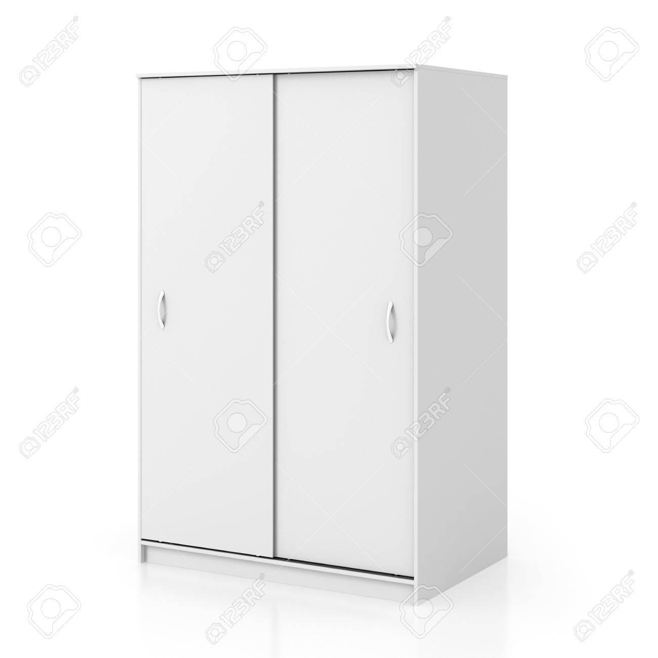 White Wardrobe With Closed Sliding Door Isolated On White 1300x1300