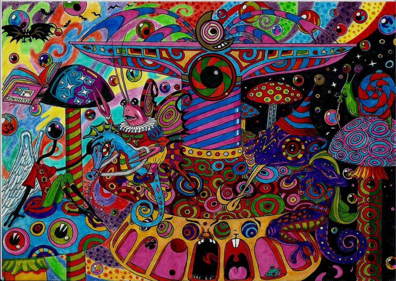 Abstrakt - Physcedelic Merry Go Round Physcedelic Wallpaper