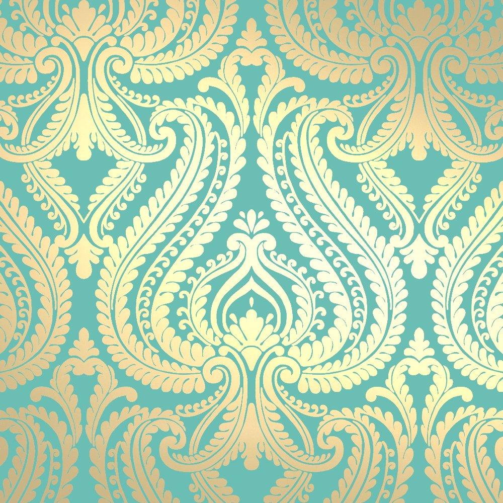 Love Wallpaper Shimmer Damask Metallic Wallpaper Rich Teal Gold 1000x1000