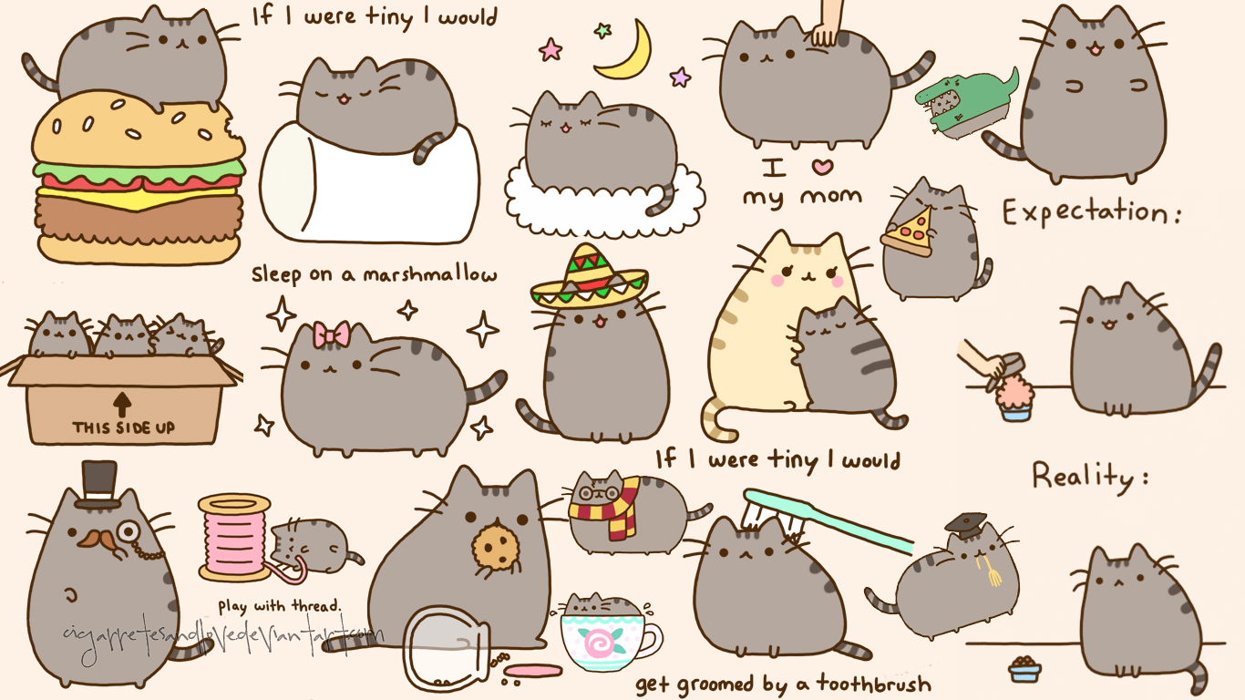 pusheen cat desktop wallpaper wallpapersafari. Black Bedroom Furniture Sets. Home Design Ideas
