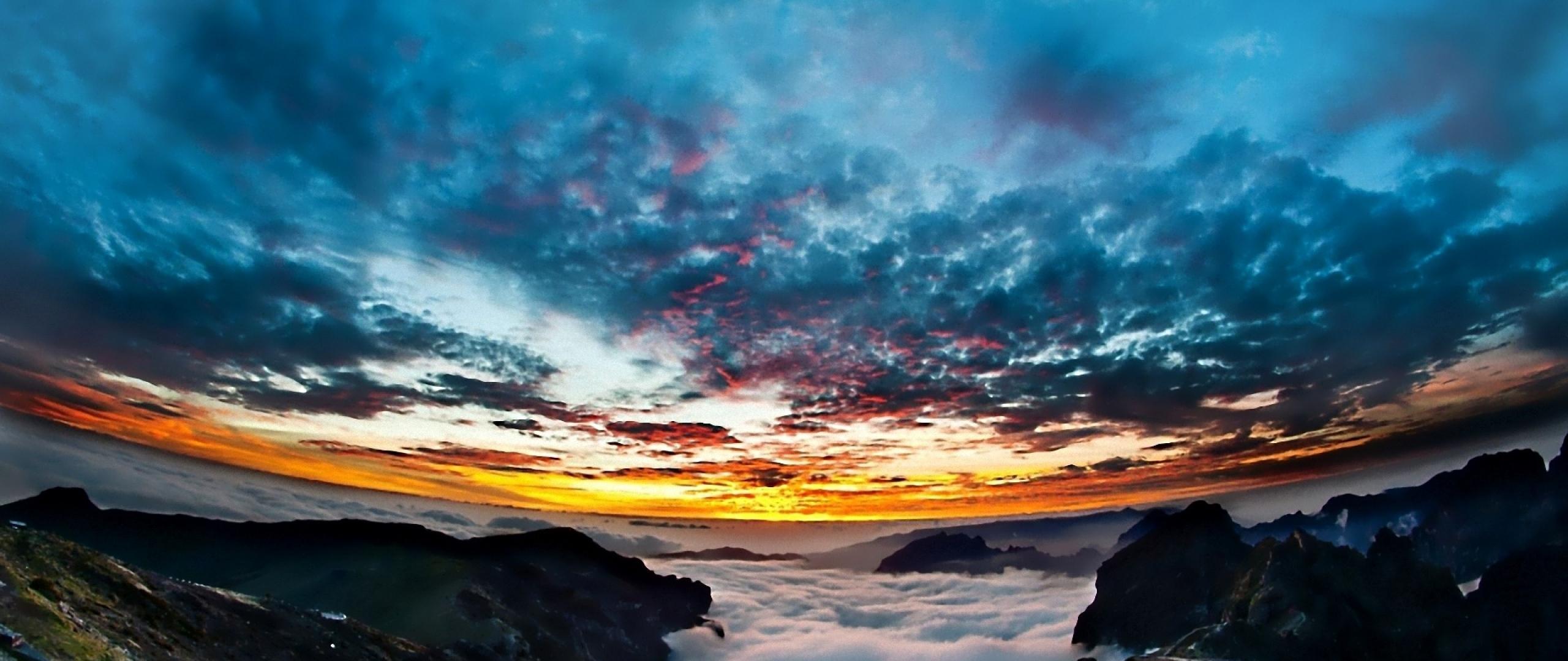 Download Wallpaper 2560x1080 Sky Sunset Panorama Landscape Night 2560x1080