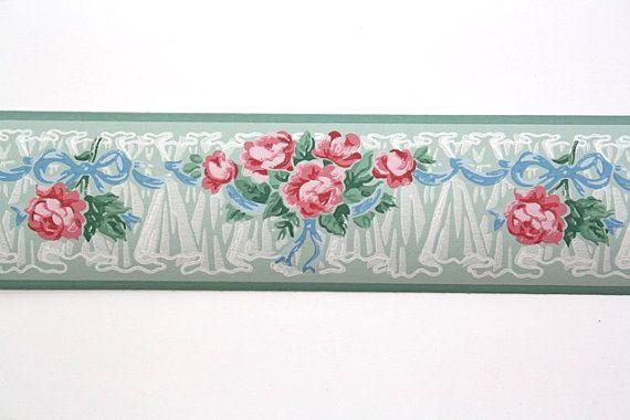Full Vintage Wallpaper Border  TRIMZ   Pink Roses   Floral Border Pin 570x380