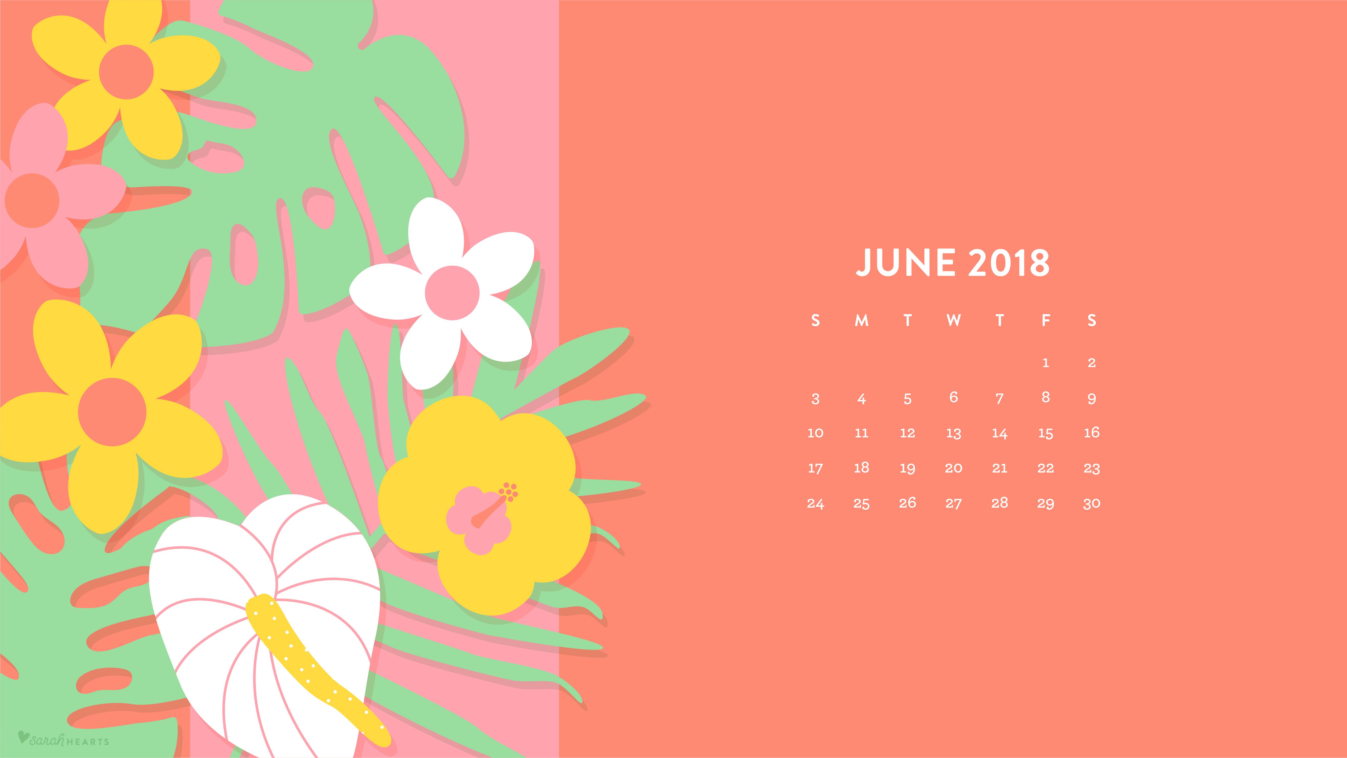 June 2018 Tropical Flowers Wallpaper   Sarah Hearts 5334x3001