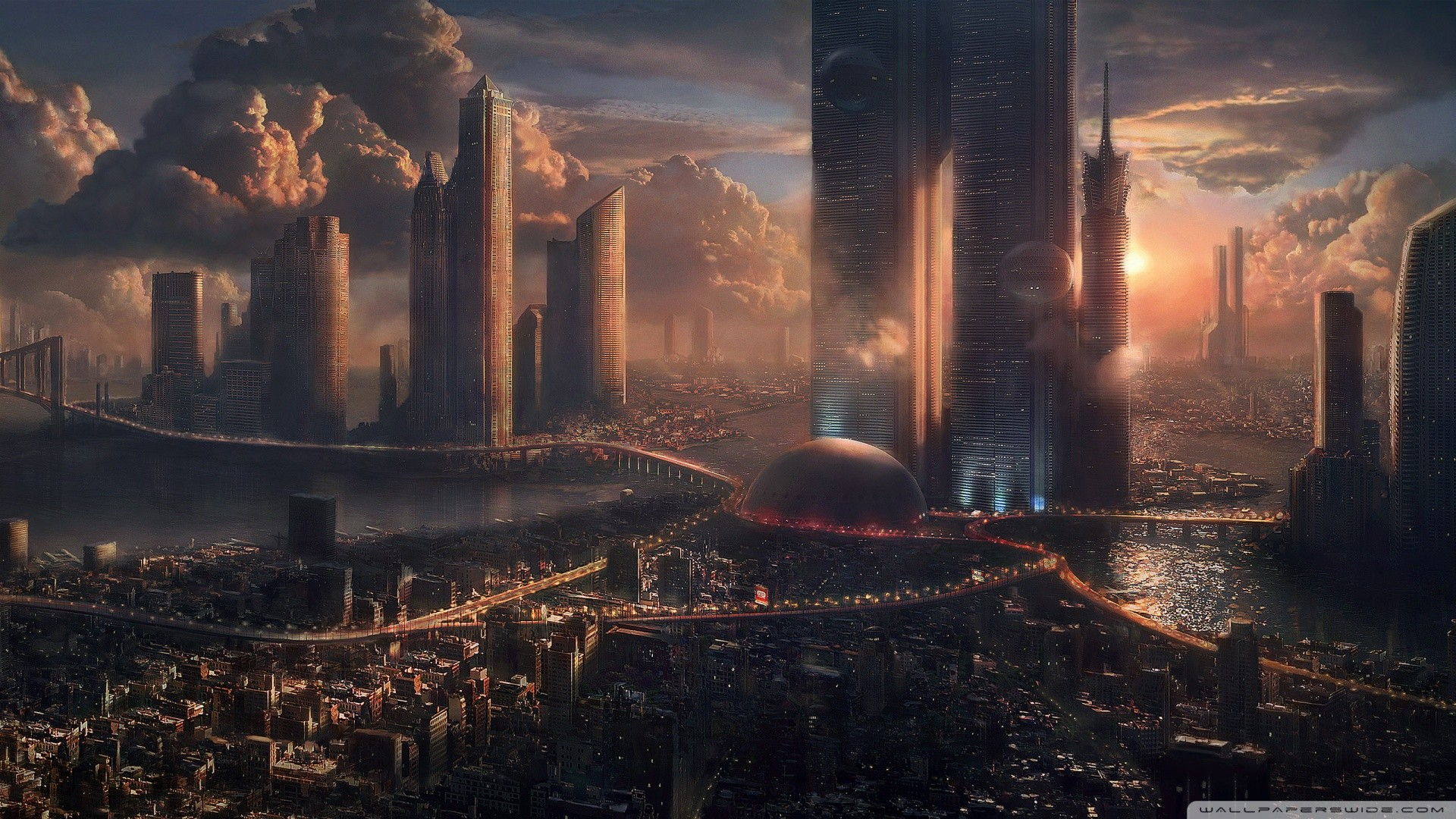 Futuristic Cityscape HD Desktop Wallpapers Cool Images High 1920x1080