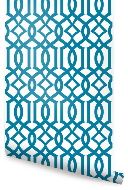 Modern Trellis Wallpaper Peel and Stick Peacock 24x48 432x640