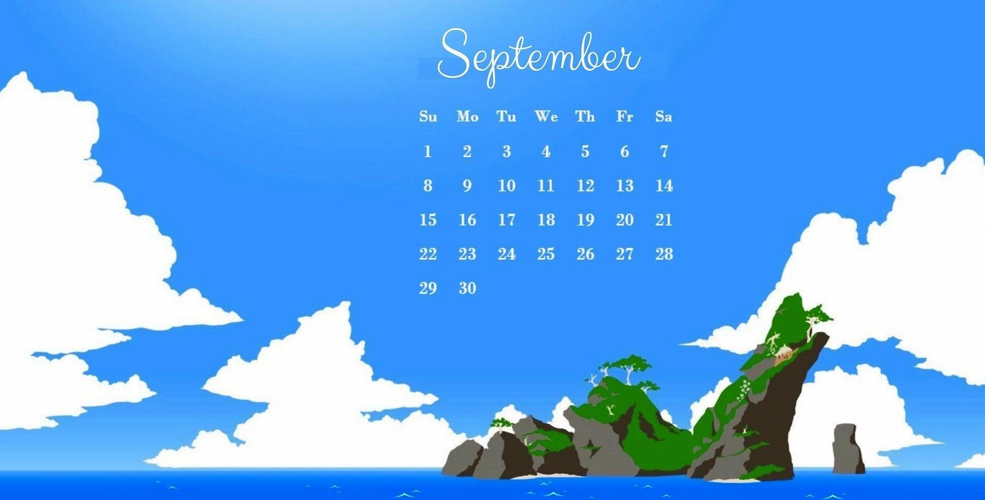 September 2019 Desktop Calendar Wallpaper 1920x976