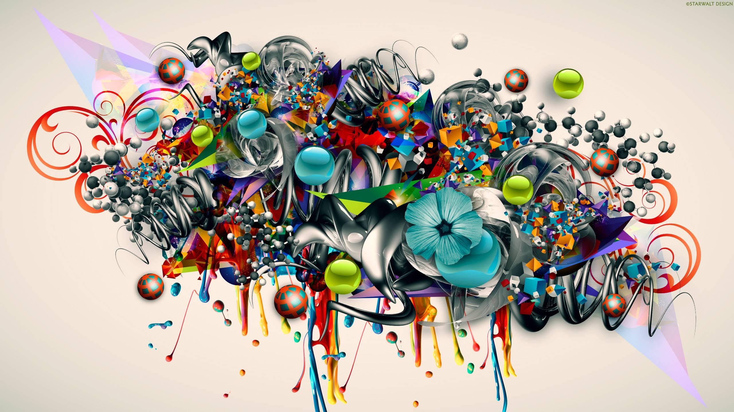 Graffiti art wallpaper - Graffiti Art 3d Color Psychedelic Flowers Urban Wallpaper 2560x1440