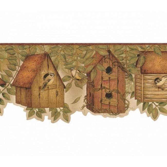 Country Kitchen Birdhouse with Brownish Burgandy edge Wallpaper Border 650x650