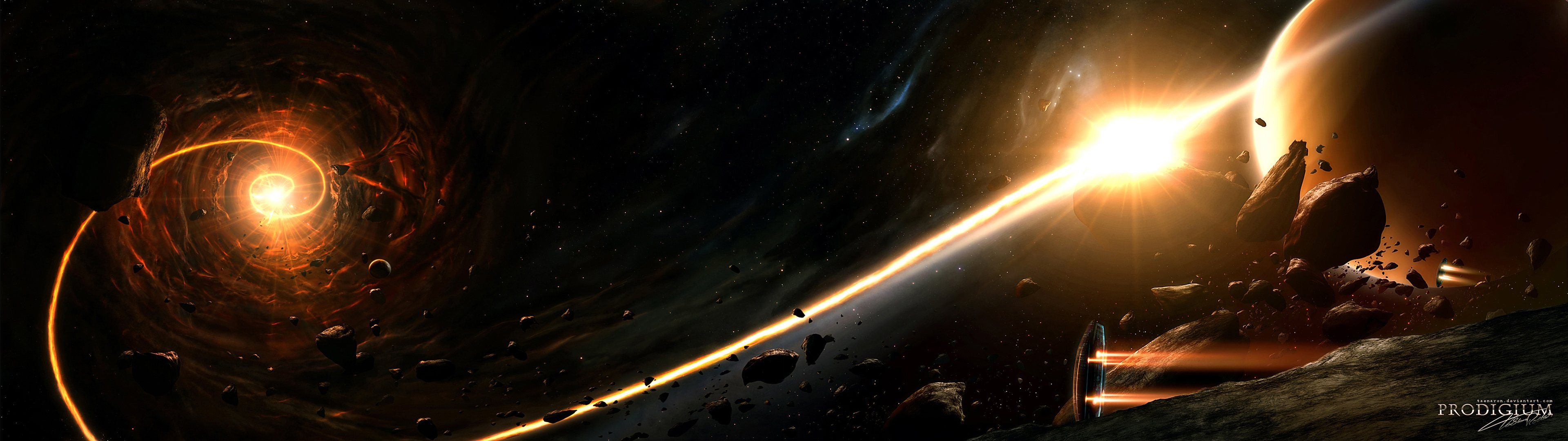 Sunrise outer space planets wallpaper 3840x1080 329246 3840x1080