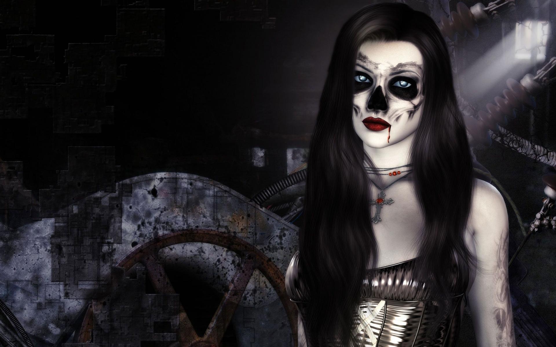 dark horror fantasy gothic 3d cg digital art vampire evil women face 1920x1200