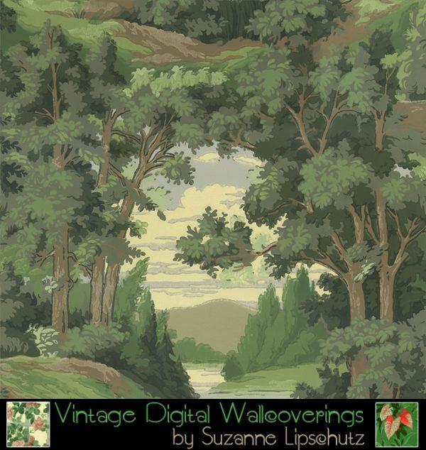 reproductions suzanne lipschutz vintage digital reproduction wallpaper 600x634