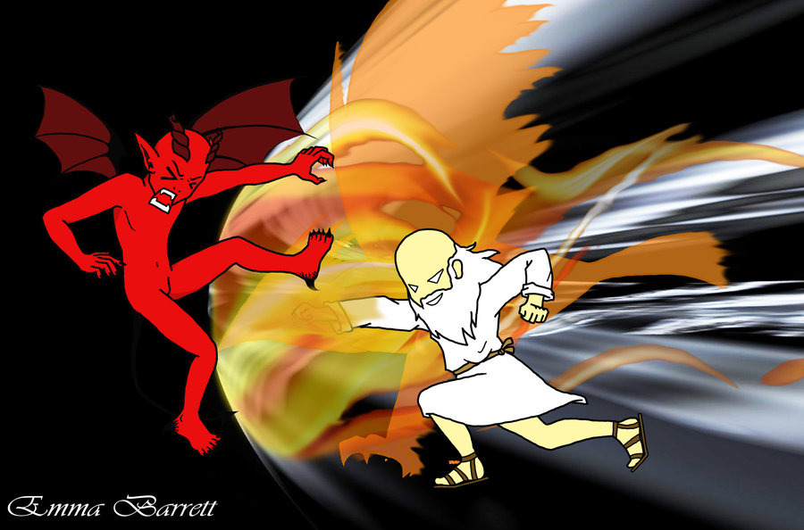 devil vs god drawing - photo #7
