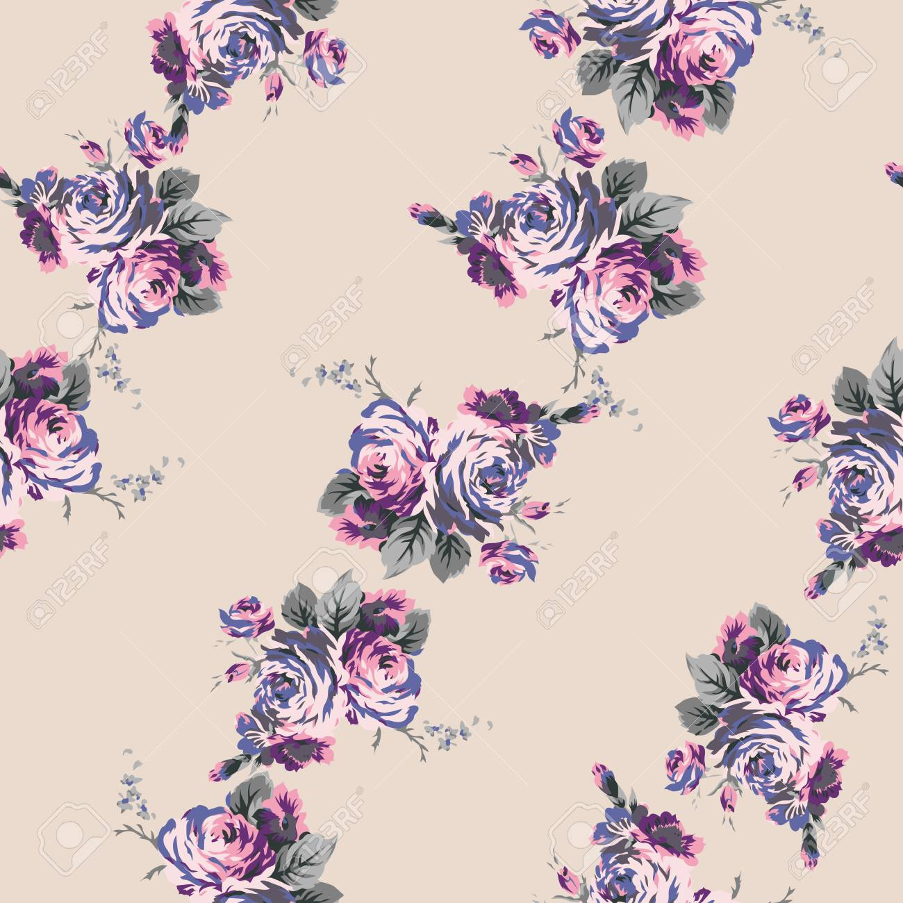 Shabby Chic Vintage Roses Seamless Pattern Classic Chintz Floral 1300x1300