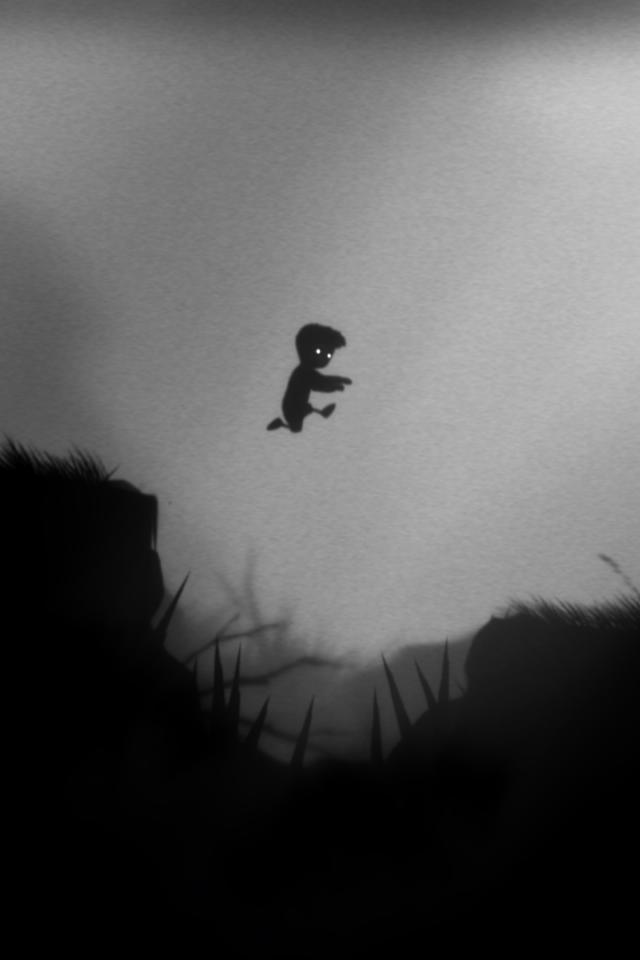 xbox jumping screenshots grayscale limbo monochrome screenshot xbla 640x960