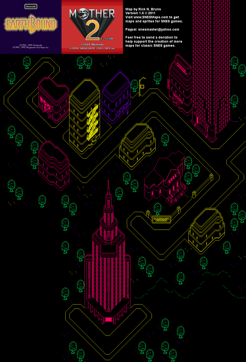 EarthBound Mother 2   Moonside Super Nintendo SNES Map BG 1024x1504