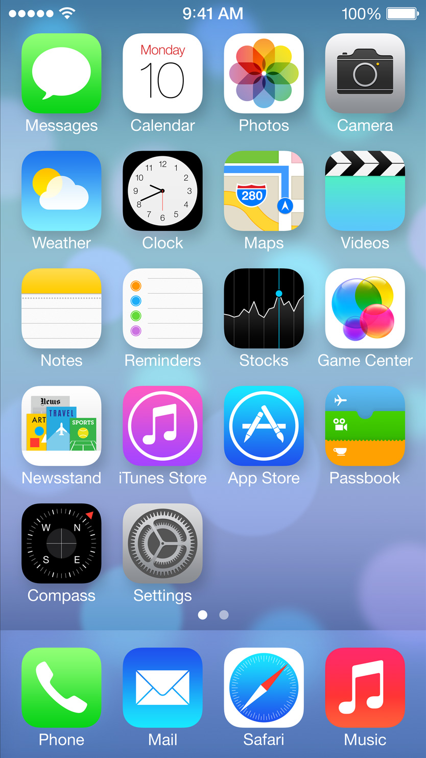 iOS 7 home screen on 35 display for iPhone 4 iPhone 4S 834x1484