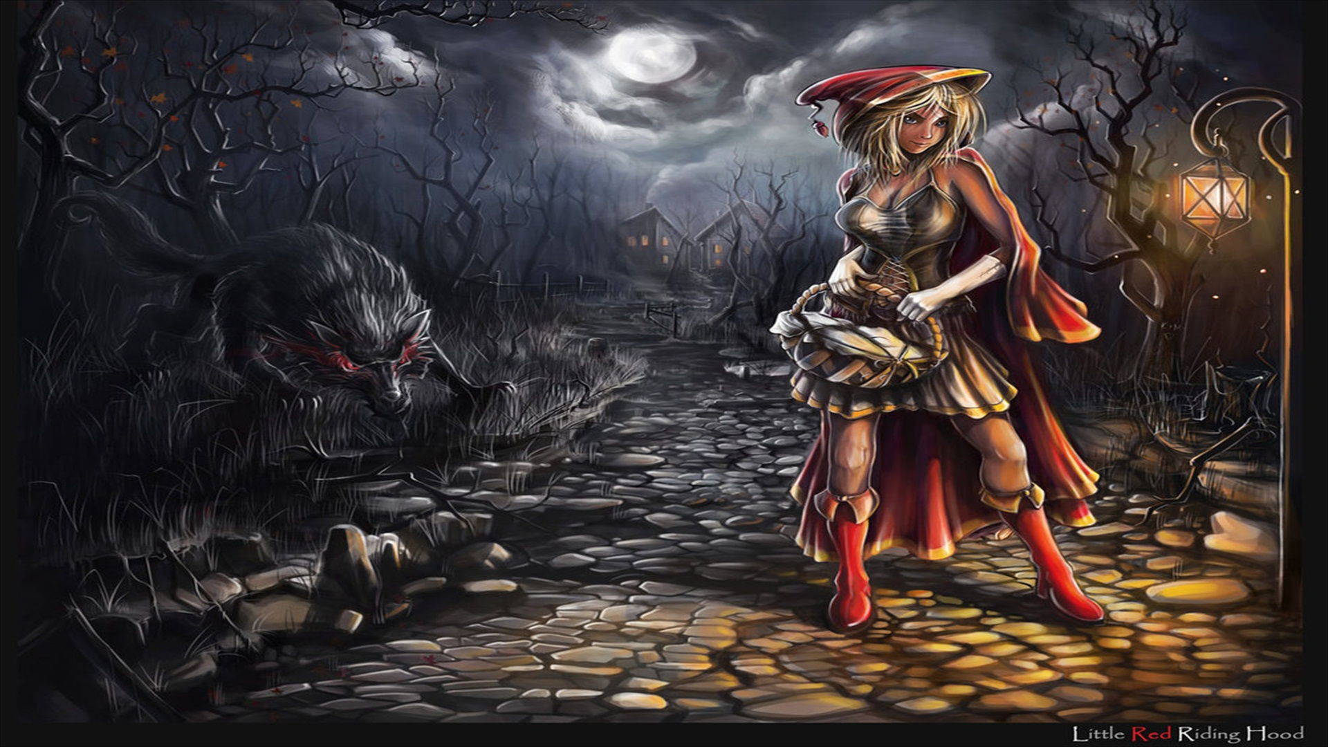 Free Download Fantasy Red Riding Hood Wallpaper 1920x1080 For