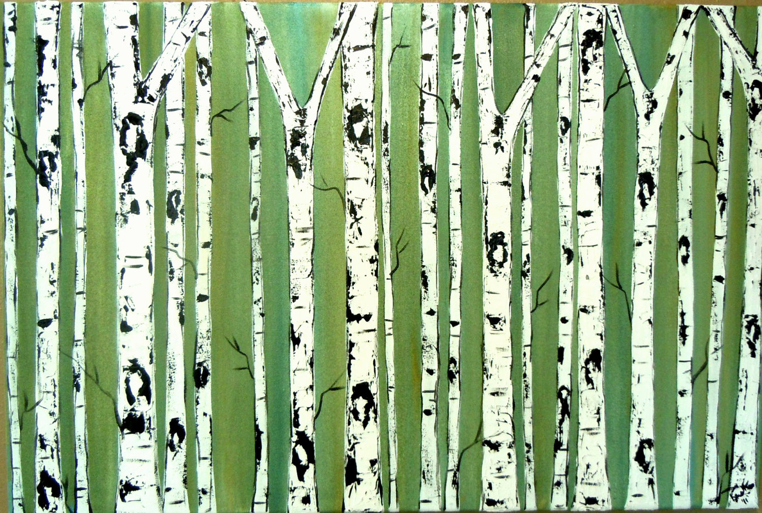 Birch Tree Background Birch trees on emerald 1500x1011