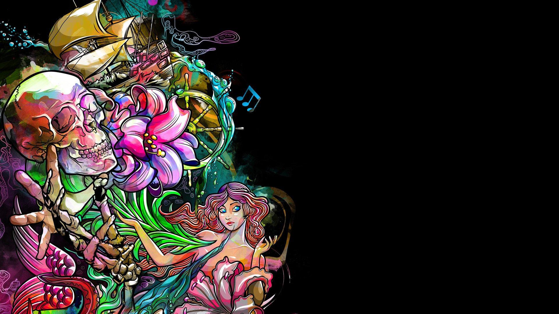 Dark skull fantasy psychedelic tattoo wallpaper 1920x1080 329301 1920x1080