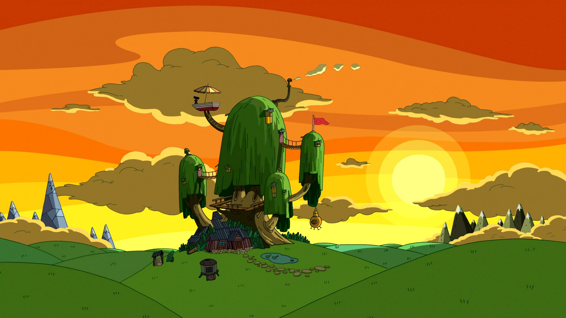 Free Download Cartoon Network Sunset Nature Houses Adventure Time