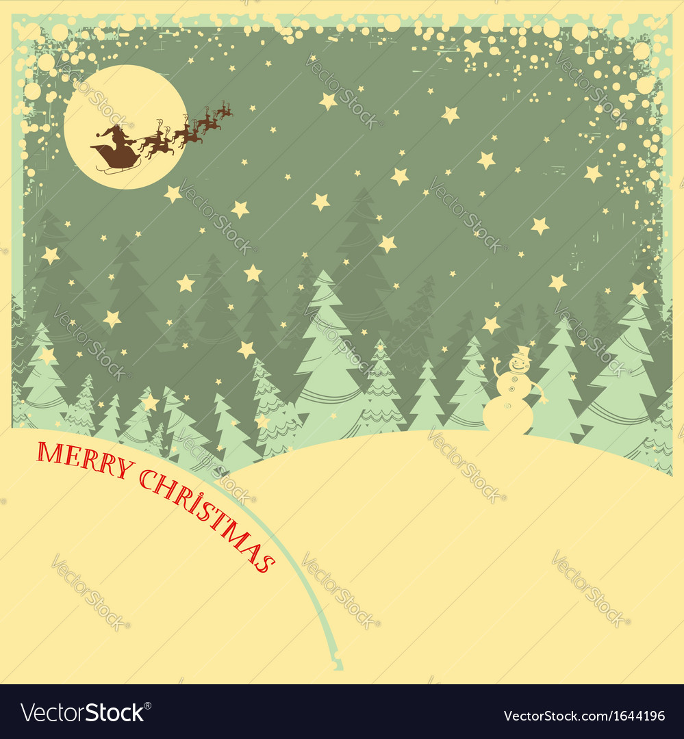 Vintage Christmas background with text on night Vector Image 999x1080