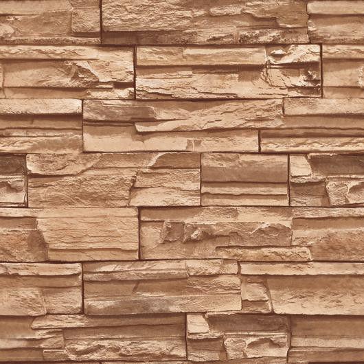 Stacked Brick Stone Wallpaper Brown Grey Beige Vinyl Wallpaper eBay 530x530