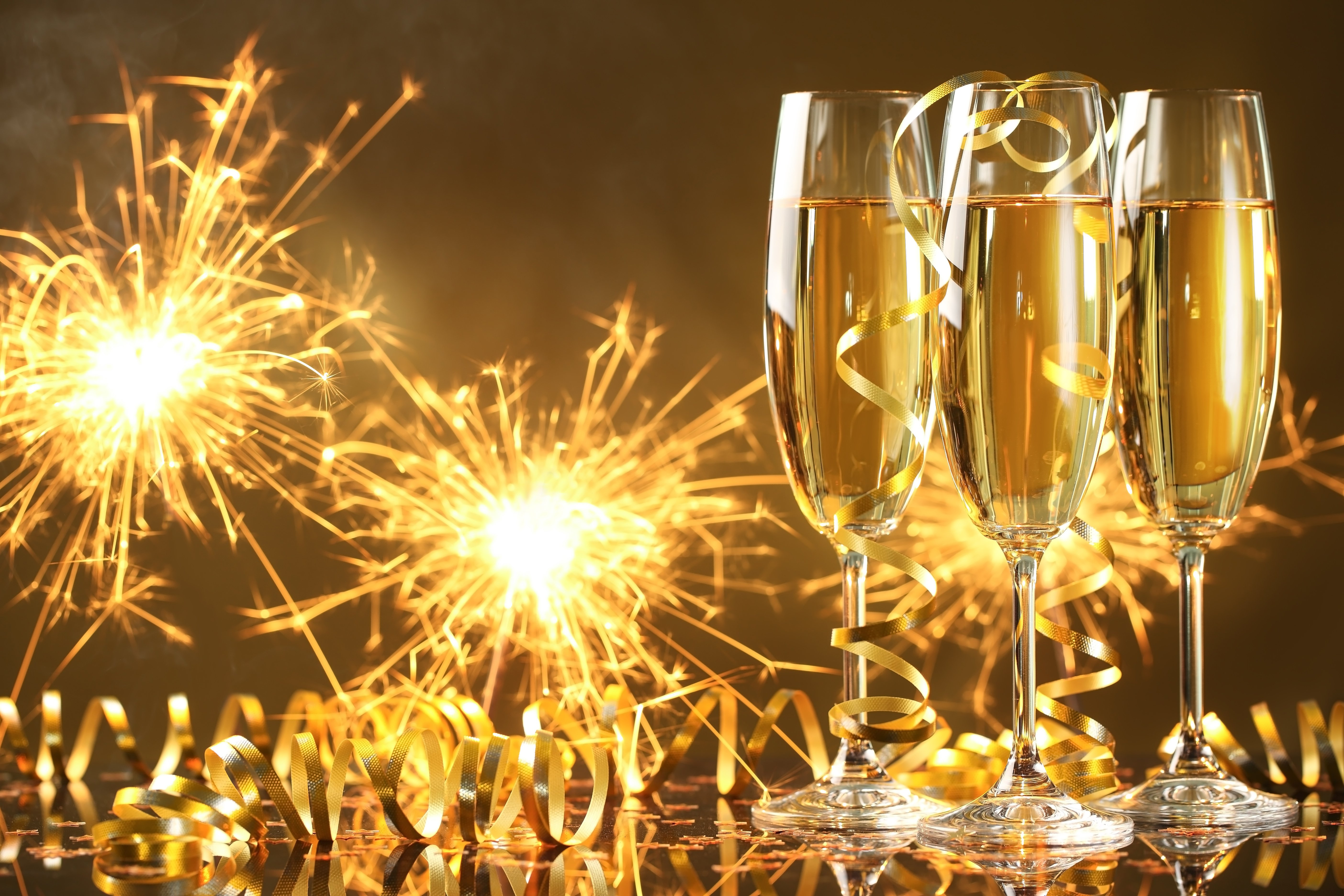 Happy New Year champagne golden celebration holiday New 5616x3744
