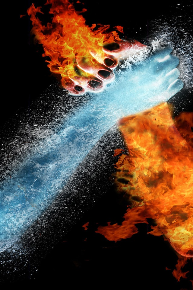 Abstract   Water VS Fire Arm Wrestling   iPad iPhone HD Wallpaper 640x960