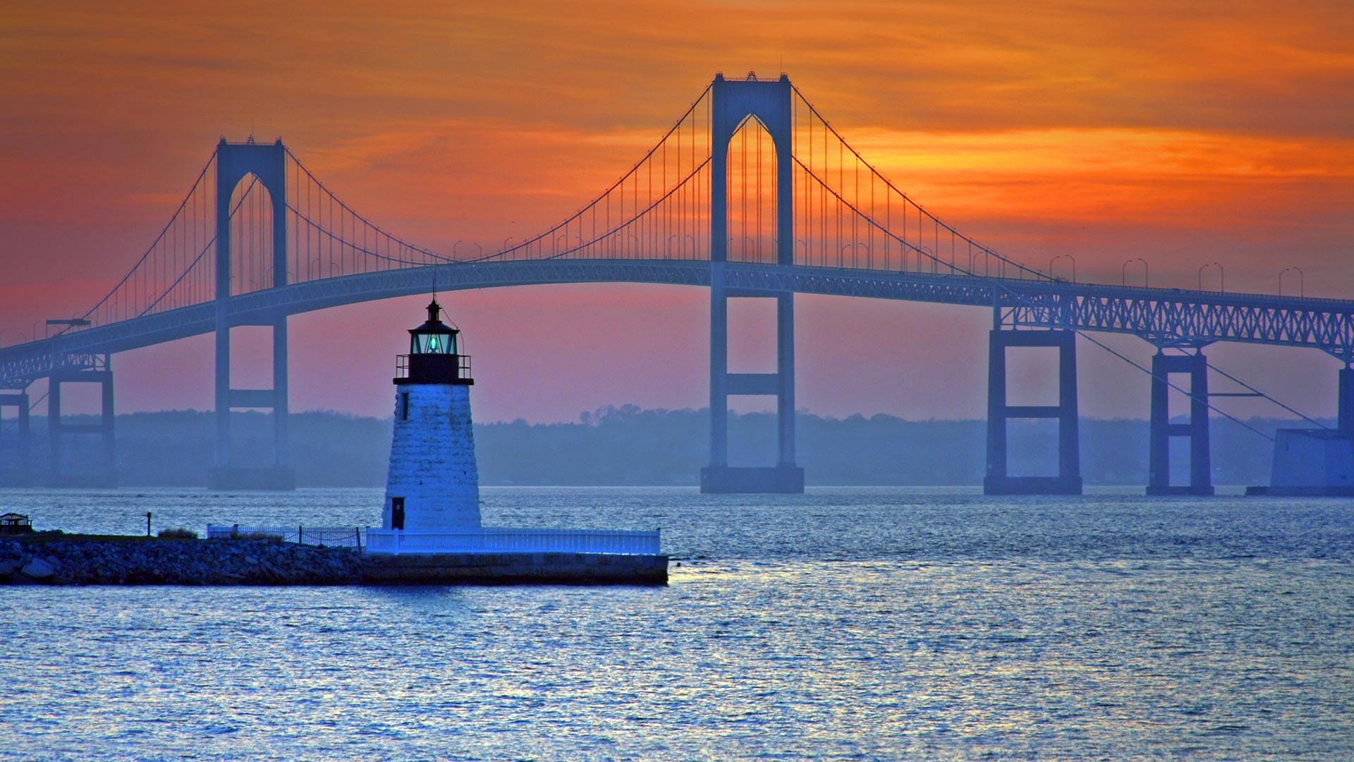 Wallpaper Bridge lighthouse sea Newport Rhode Island USA 1920x1080