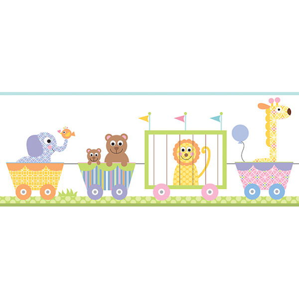 Circus Train Pastel Prepasted Wall Border   Wall Sticker Outlet 600x600