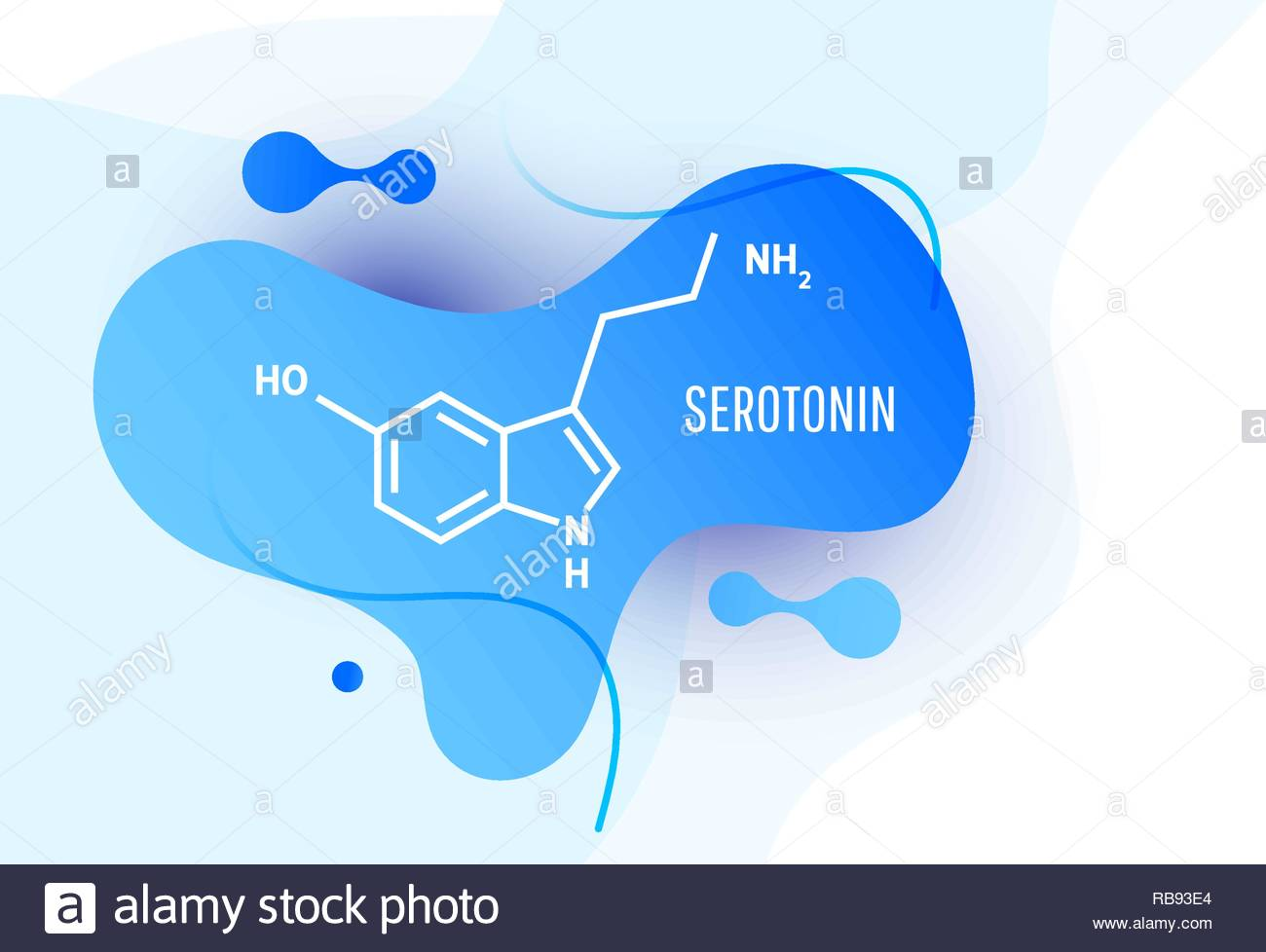 Serotonin hormone structural chemical formula on blue background 1300x978