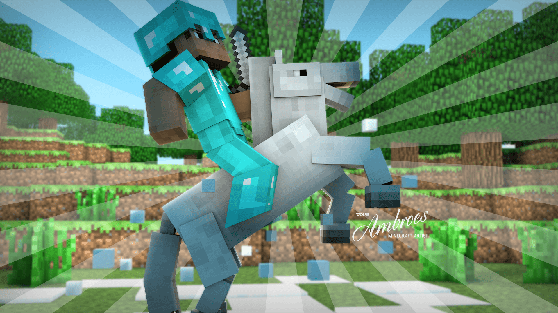 Hd Glacial Steed 3D Minecraft Wallpaper 1920x1080