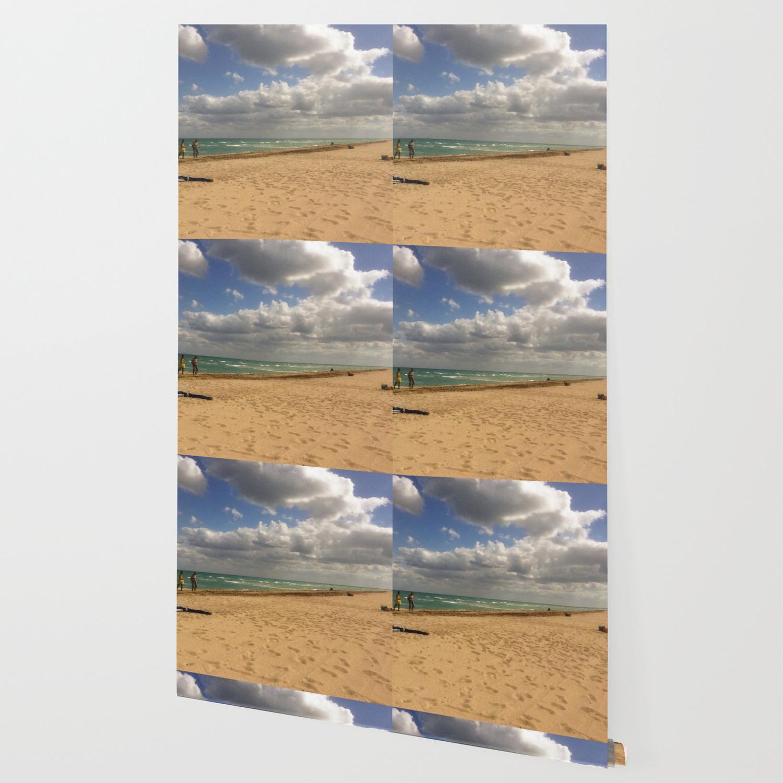 Puffy Clouds at Hollywood Beach Wallpaper by lmglenn Society6 1500x1500
