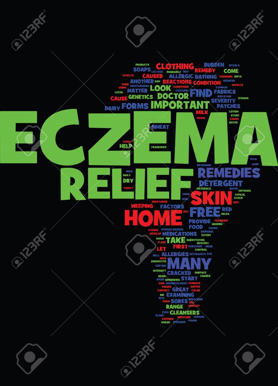METHODS THAT AID IN ECZEMA RELIEF Text Background Word Cloud 938x1300
