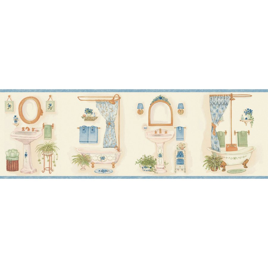 Blue Vintage Bathroom Prepasted Wallpaper Border at Lowescom 900x900