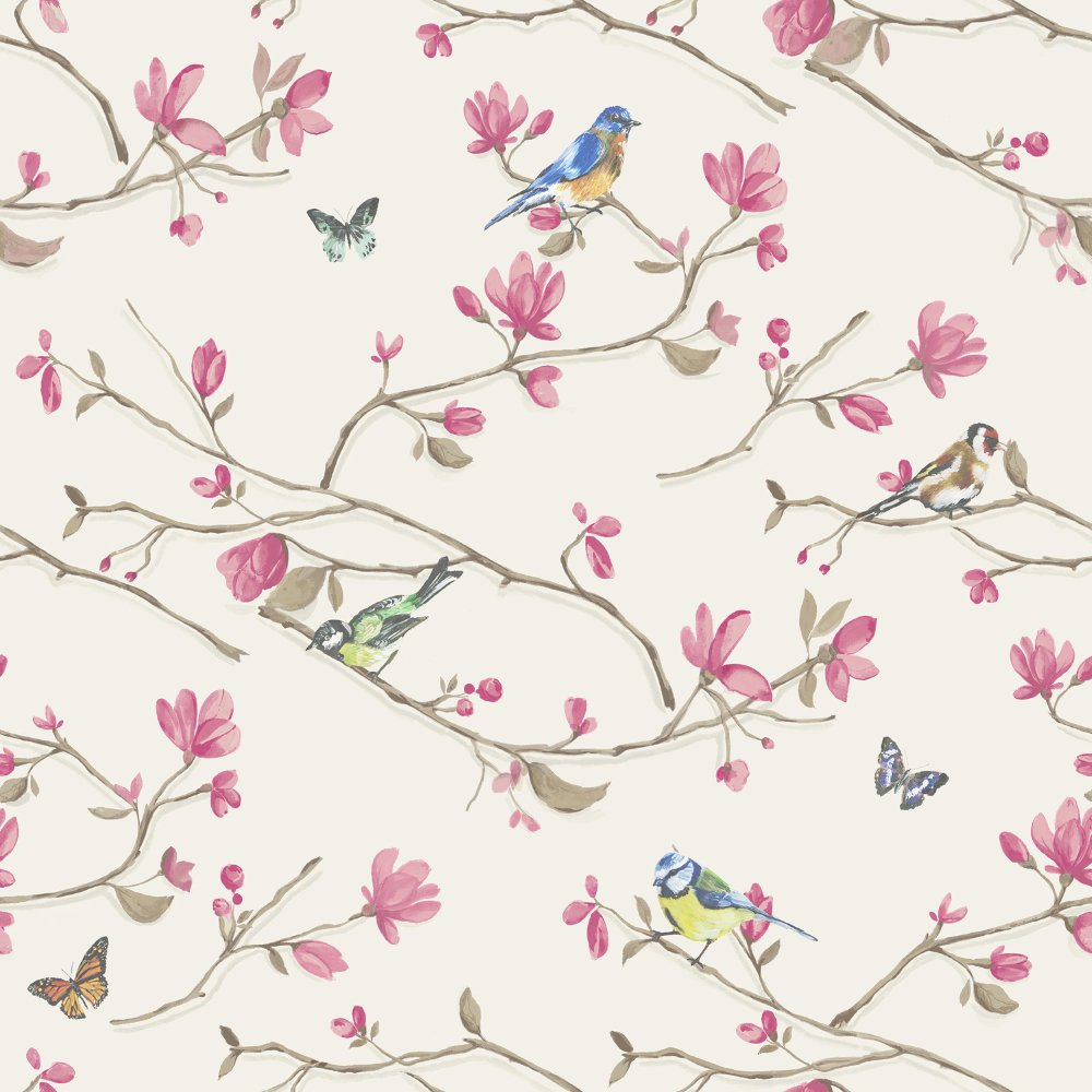 Dcor Kira Bird Butterfly Pattern Floral Flower Motif Wallpaper 98121 1000x1000