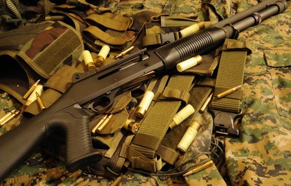 Wallpaper Benelli M1014 M4 Shotguns Semi Automatic Shops Gun 596x380