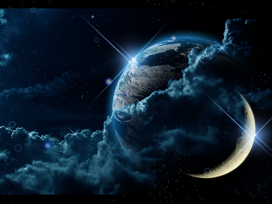 Earth and Moon Wallpaper by Loulines 900x675