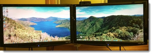 Display panoramic pictures across both monitors 515x187
