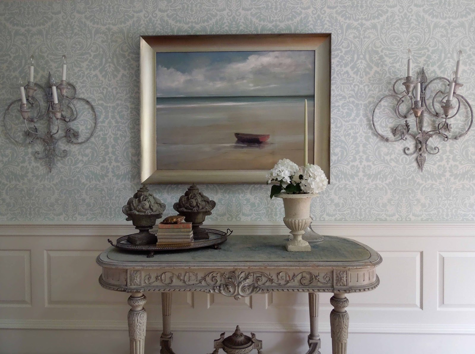 Farrow and Ball wallpaper in foyer and hallways Anne Packard painting 1600x1194