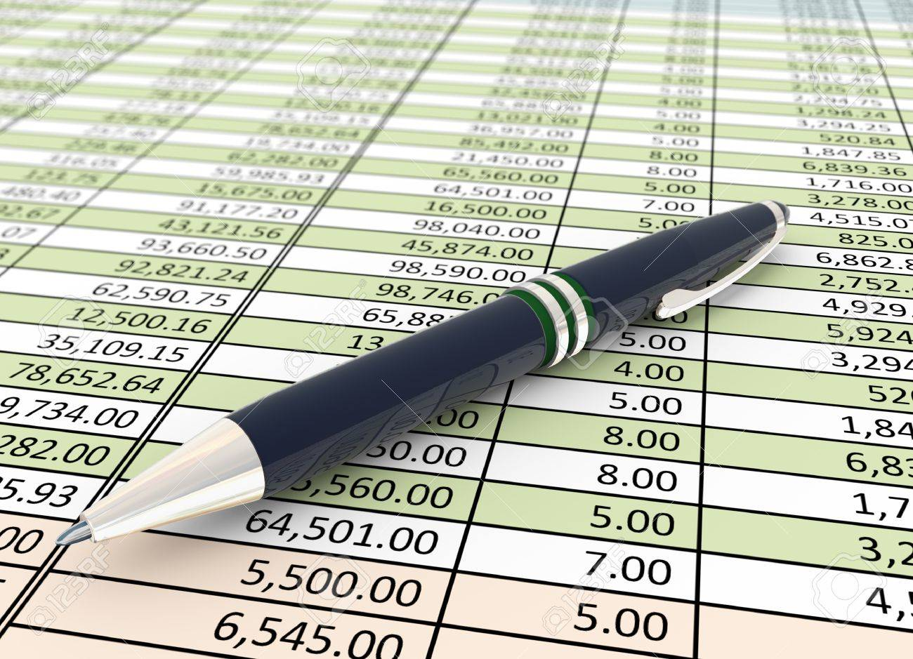 3d Pen On The Background Of Financial Spreadsheet Stock Photo 1300x939