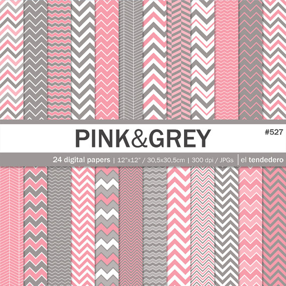 Pink and grey chevron digital paper pack