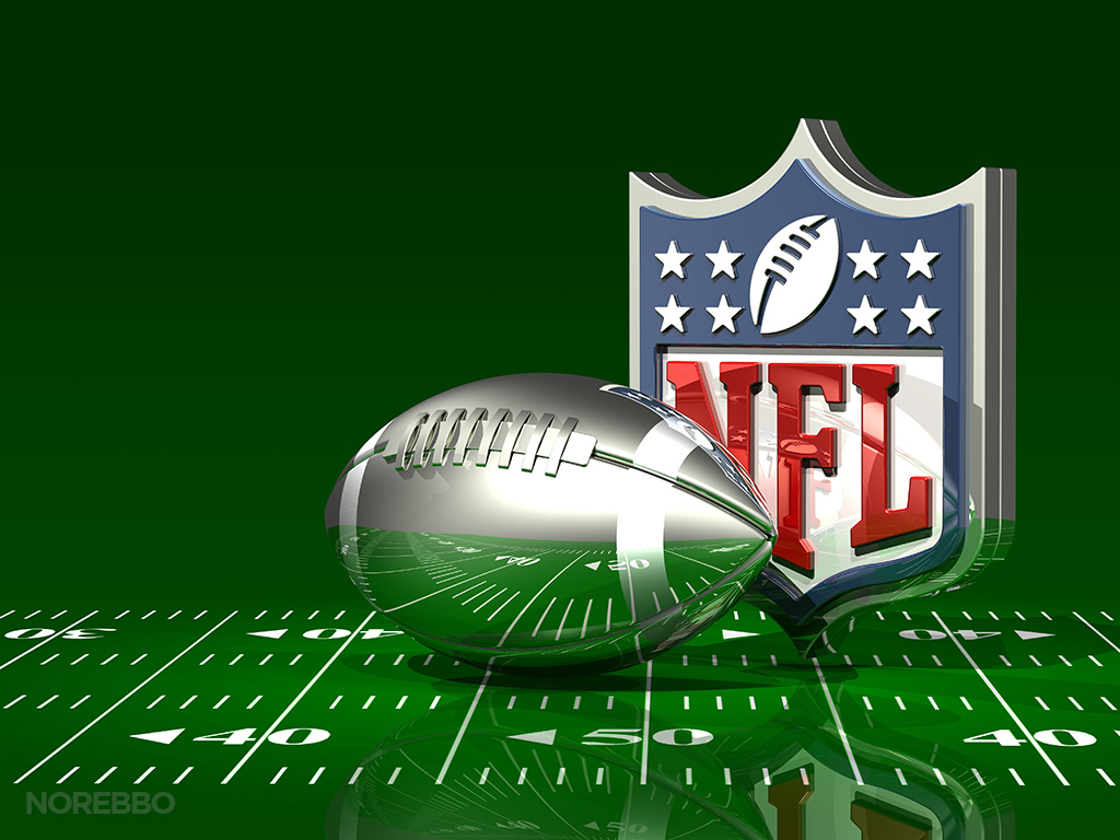 3d illustration of an NFL logo behind a transparent silver American 1024x768