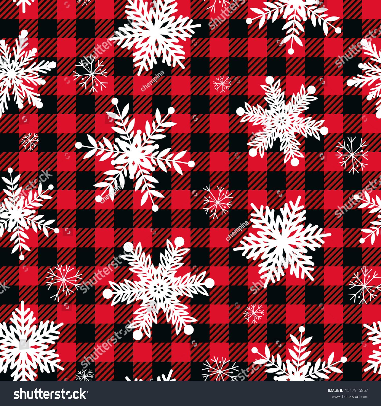 Snowflakes On Buffalo Plaid Background Vector Stock Vector 1500x1600