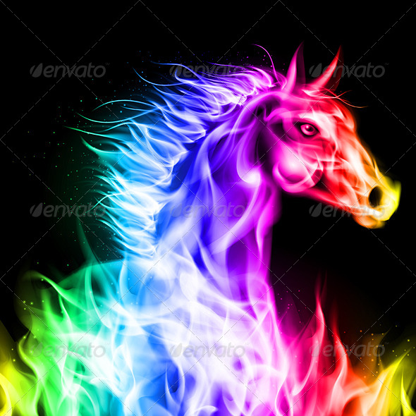 Colorful Fire Horse   Animals Characters 590x590